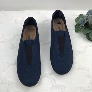 Clarks Medora' blue suede perforated slip on shoes